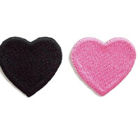 Set 2pcs. Black & Pink Little Hearts New Sew on / Iron On Patch Embroidered Applique Size 3.3cm.x3cm.