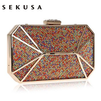 SEKUSA Colorful Diamonds Luxurious Women Evening Bag Rhineston Party Evening Clutch Purse Chain Shoulder Phone Key Wallets