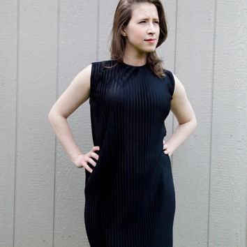 Vintage Little Black Dress: sheer pleated dropwaist 1960's, size 7