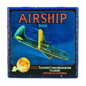 Airship Brand - Vintage Citrus Crate Label - Handmade Recycled Tile Coaster