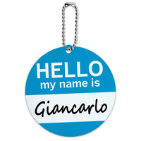 Giancarlo Hello My Name Is Round ID Card Luggage Tag