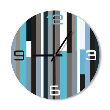 Wall Clock ice blue clock stripes clock home decoration wall art shades of blue living room office clock wall decor