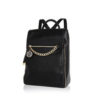 River Island Womens Black fold over smart backpack