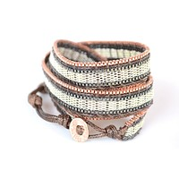 Wrap Bracelet Silver, Copper and Brown Metal