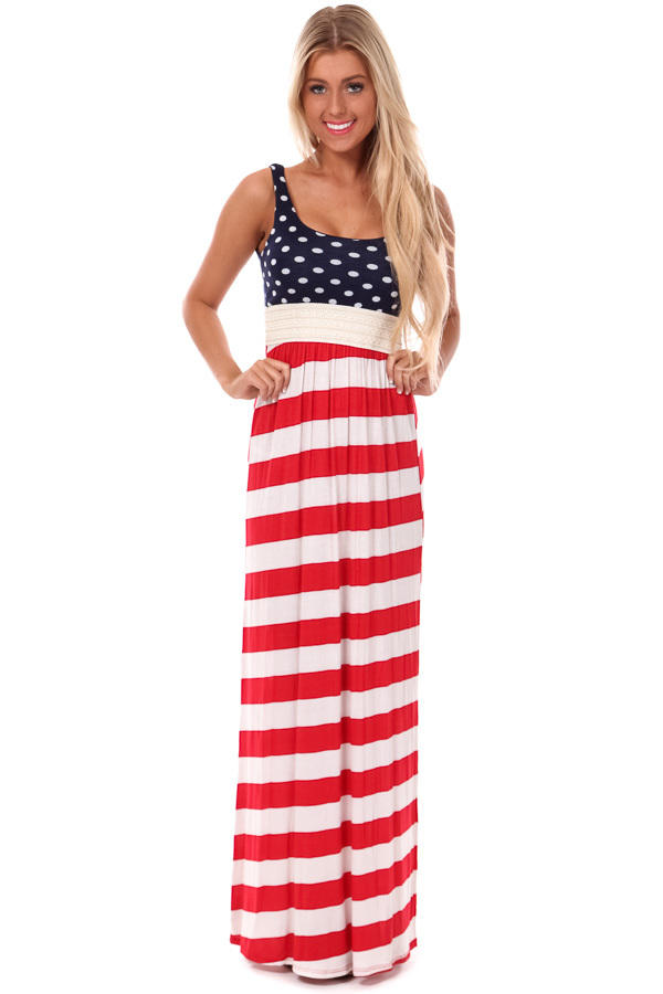 Red White and Blue Crochet Waist Maxi from Lime Lush Boutique