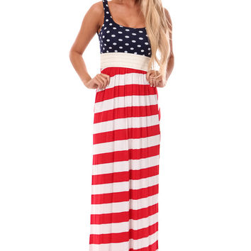 Red White and Blue Crochet Waist Maxi Dress