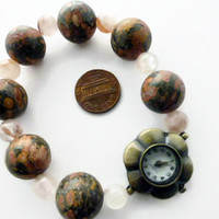 beaded bracelet watch, leopard skin jasper rouge quartz flower face watch, UK shop