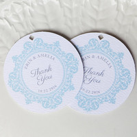 Wedding Favor Tags, Tags for Welcome Bags, Aqua Blue, Other Colors Available, Personalized Gift or Product Labels - Set of 20