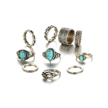 Retro Midi Rings Women Antique Silver color Big Blue Stone Flowers Rings Bohemian Jewelry Anillos 10pcs/