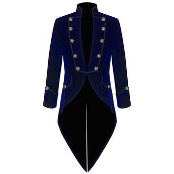2017 Dark Blue Velvet Coat Italian Tailcoat Mens Suits With Black Pants (Jacket+Pants) Tuxedos For Men Prom Wedding Groom Suit