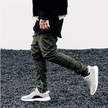 Hip Hop Fashion Men's Pants Justin Bieber Harem ankle with Zippers Kanye West Drop Crotch Pants Fear of God Mens Joggers Yeezys