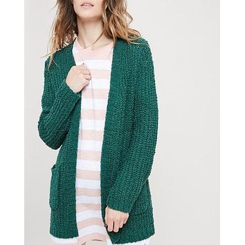 textured sweater knit long sleeve open front cardigan with pockets - green