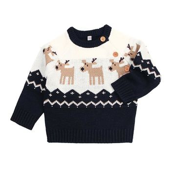 Baby Boy Clothing Spring Baby Girl Clothes Newborn Infant Pullover Winter Elk Pattern Baby Sweater Lonsleeve Kid Clothes