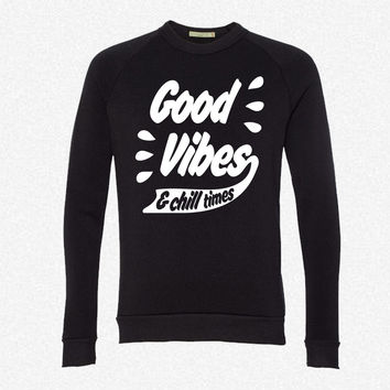 Good Vibes fleece crewneck sweatshirt