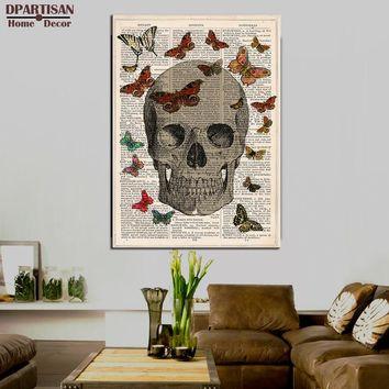 DPARTISAN Steampunk Art Print Wall Poster vintage dictionary book art skull butterflys art print painting printed on canvas SP49