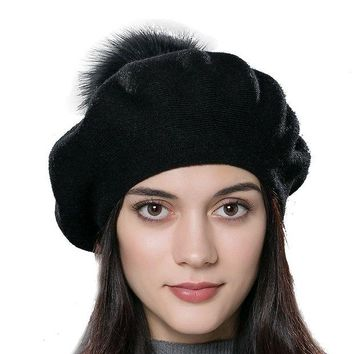 DCK4S2 URSFUR Unisex Winter Hat Womens Knit Wool Beret Cap with Fur Ball Pom Pom