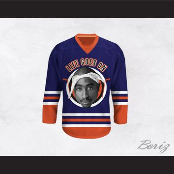 Tupac Shakur 6 Life Goes On Blue Hockey Jersey