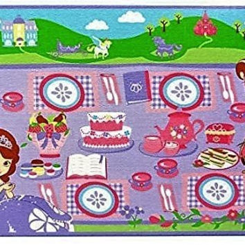 Disney Sofia the First Tea Party Game Rug Includes Tea Set For 2