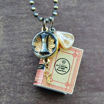 Charm Necklace Antique Button and Book by kandujewel on Etsy