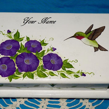 Hand Painted Jewelry Box Wood Hummingbird Jewelry Chest Organizer Holder Custom Hummingbird Gift