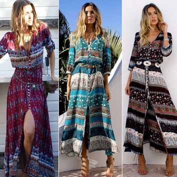 Women Bohemian Long Dress Floral Print Retro Hippie Chic Boho Dress