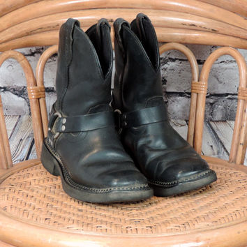 Justin Leather Biker Boots/ 90's Vintage Black Leather Women's Boots/ 6.5