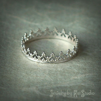 Ring  crown ring for princess  sterling silver 925  by Katstudio