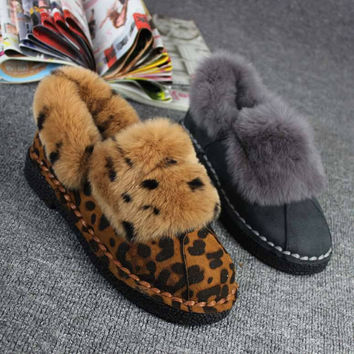 Leopard Rabbit Fur Lined Flat Ankle Boots Moccasin Shoes Booties For Women Tb0334