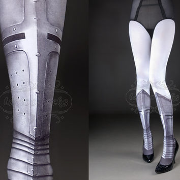 Tattoo Tights   Warrior Princess white full length by tattoosocks