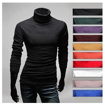 Spring autumn Men fashion sweaters slim turtleneck Sweaters pullovers Free shipping