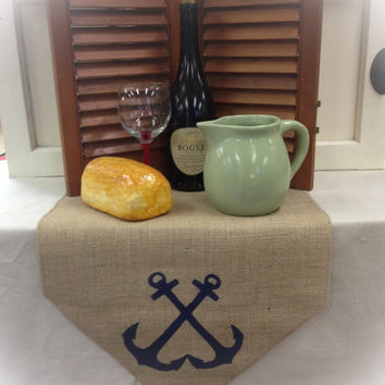 "Burlap Table Runner 12"", 14"" or 15"" wide with a crossed anchor design on each end"