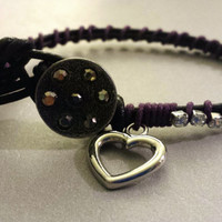 Purple and Black Leather Rhinestone Bracelet with Silver Heart Charm- Adjustable