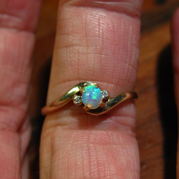 Opal Ring featuring Lightning Ridge Crystal Opal. Vintage Ladies Ring size 7US 9 Carat Gold 2 Diamonds super bright opal from Australia