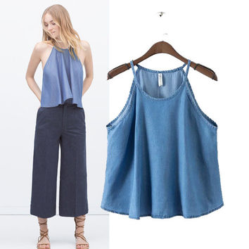 Stylish Casual Denim Camisole Women's Fashion Tops [5013392580]