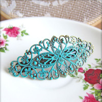 Vintage Style Barrette Patina Mint Green Turquoise Aqua Blue Vintage Filigree Barrette Hair Clip Victorian Spanish Style Hair Jewelry - Jaen