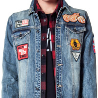 Mens - Outerwear - Libertad Vintage Washed Patched Denim Trucker Jacket