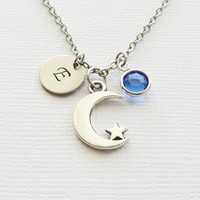 Moon And Star Initial Necklace Crescent Celestial Sky Star Wish Gift Jewelry Swarovski Birthstone Silver Personalized Monogram Hand Stamped