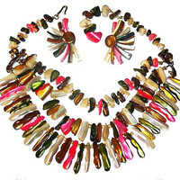 """Shell Bead Bib Necklace Earring Set MOP Pastel Colored Glass 16.5"""" Vintage"""
