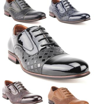 Ferro Aldo Men's 19507L Cap Toe Pattern Oxfords Dress Shoes