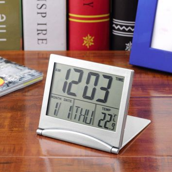 Calendar Alarm Clock Display date time temperature flexible mini Desk Digital LCD Thermometer cover