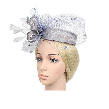 Women's Fascinator Pillbox Hat Bow-knot Party Hat Top Hat with Feather Veil for party Dance