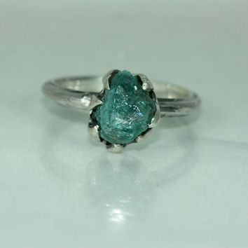 Aquamarine Silver Womans Organic Rustic Unique Statement Solitare Engagement Ring