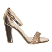 Frenzy54 by Bamboo Retro Rhinestone Embellished Chunky Block Heel Ankle Strap Dress Sandal