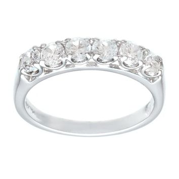 Classic Wedding Guard Ring Style Silvertone Fashion Ring With Six Hand Set Cubic Zirconia Stones