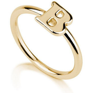 Initial Ring -18K Gold Plated .925 Sterling Silver