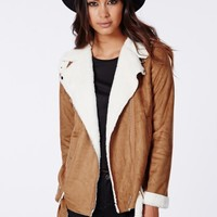 Missguided - Bliss Faux Suede Shearling Jacket Tan