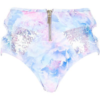 River Island Womens White Pacha rose print zip bikini bottoms