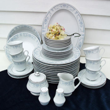 China Dinnerware Set - Sheffield Porcelain Dining Set, Blue White Plates + Serving Set of 43