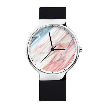 Marble Watch, Mens Watch, Women Watches, Minimalist, Jewelry, Modern, Gift, Simple, White Silicone Strap