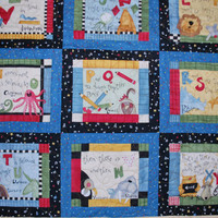Crib quilt and doll quilt set Alphabet Song 41 by 46